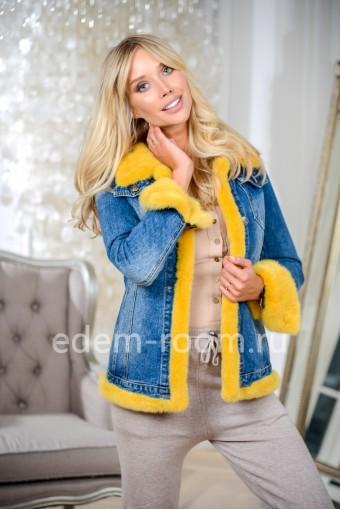 Куртка джинсовая с меховыми желтыми манжетами