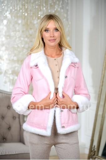 Куртка - джинсовка с мехом норки