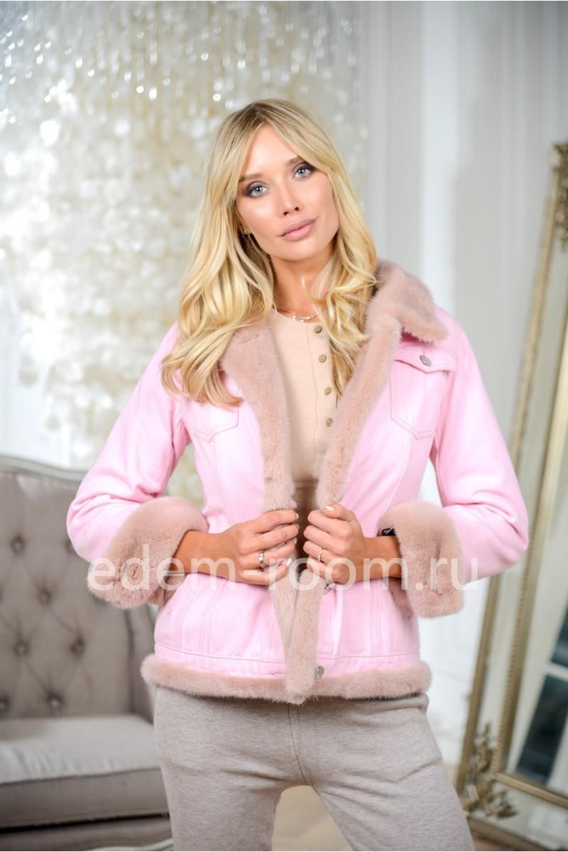 Куртка - джинсовка розовая с мехом норки