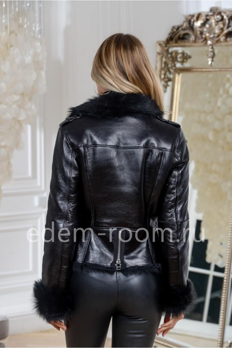 Чёрная куртка- дубленка на тоскане, короткая
