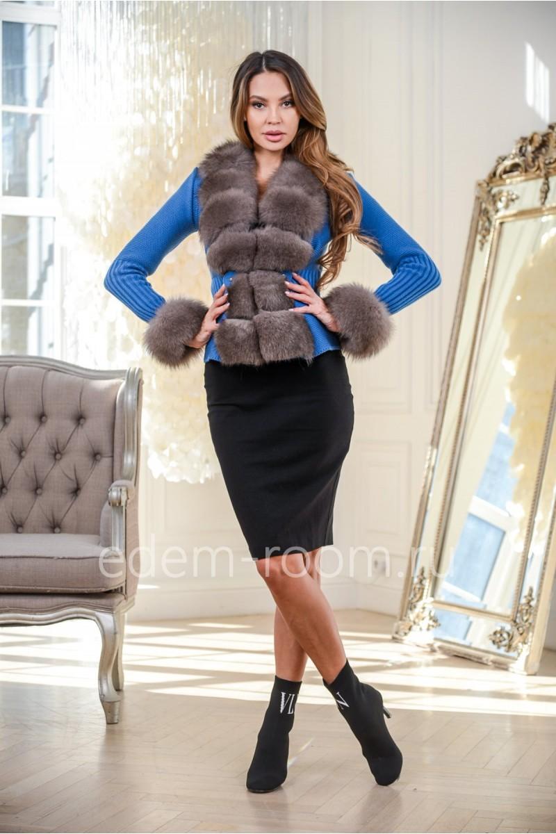 Пальто - куртка из вязки и меха