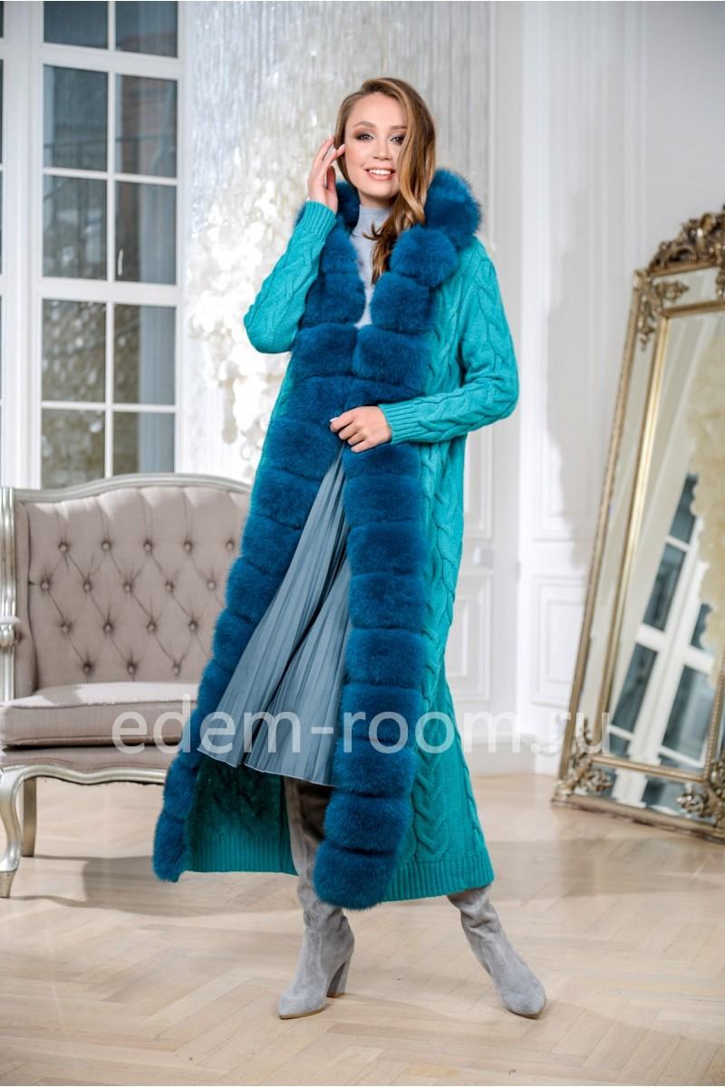 Вязаный кардиган - пальто  с финским песцом