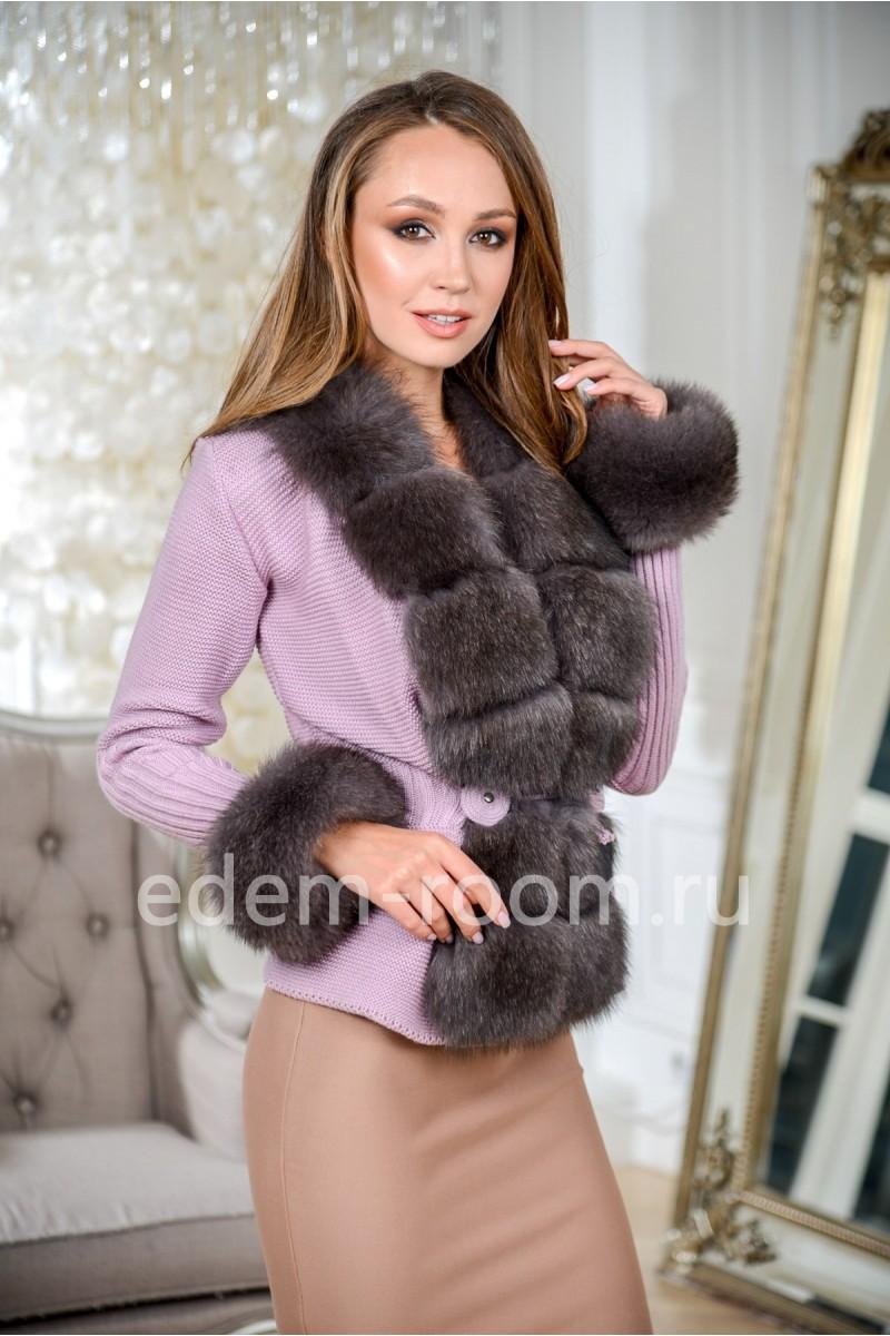 Кардиган - кофта с финским песцом, фиолетовая