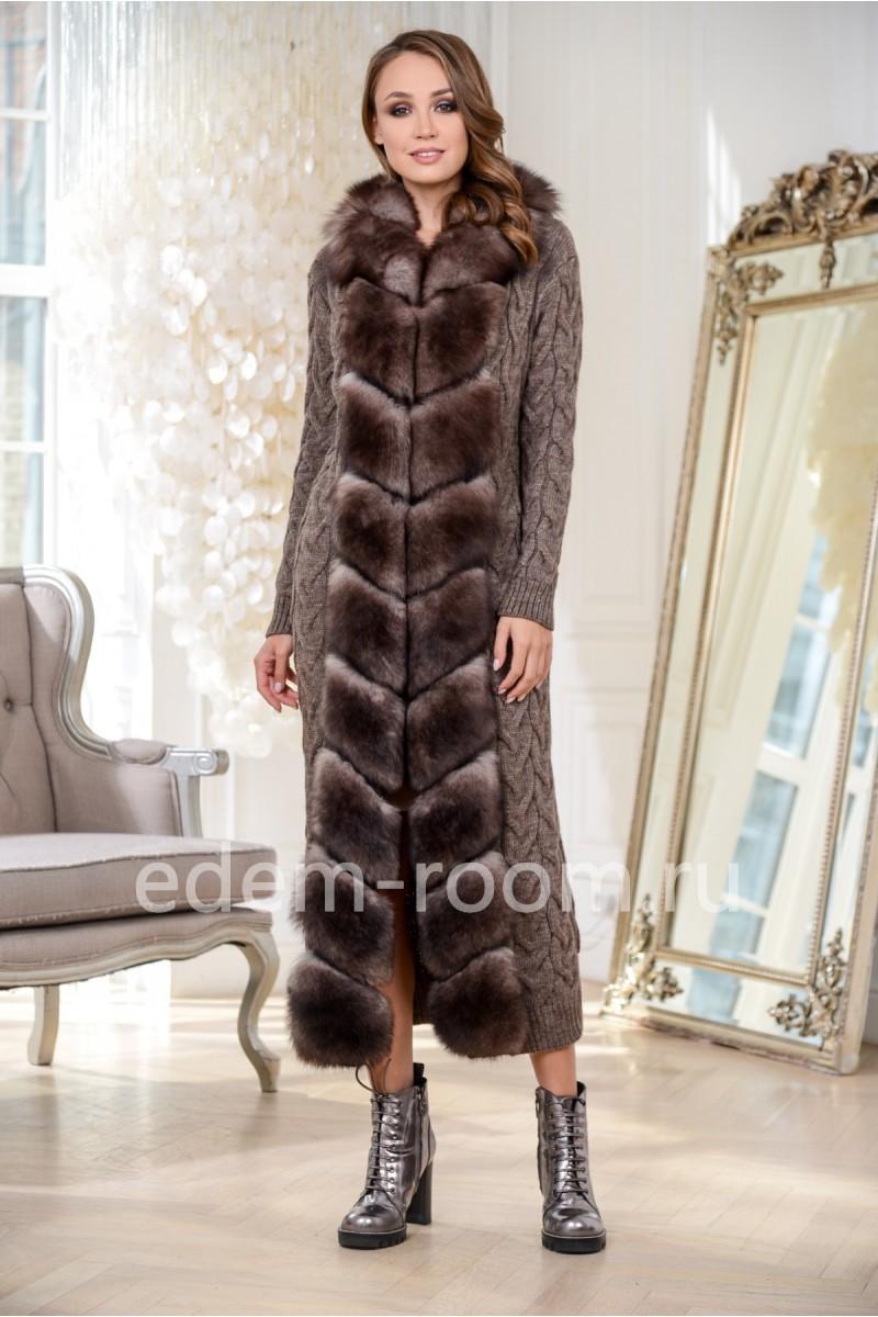 Удлинённый вязаный кардиган - пальто