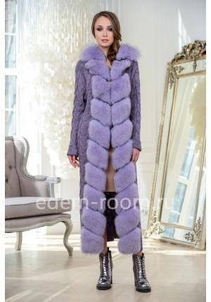 Удлинённый кардиган - пальто отороченный мехом песца