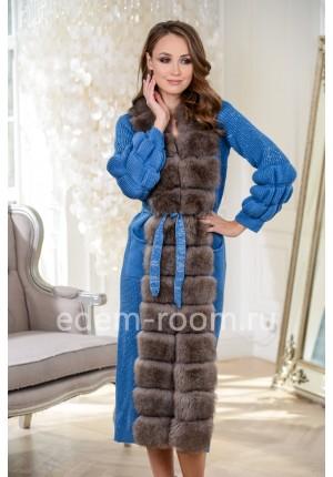 Кардиган - пальто отороченный мехом песца