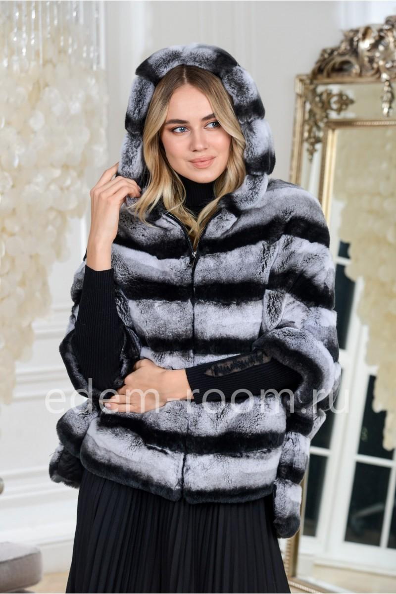 Куртка из меха кролика рекс с капюшоном