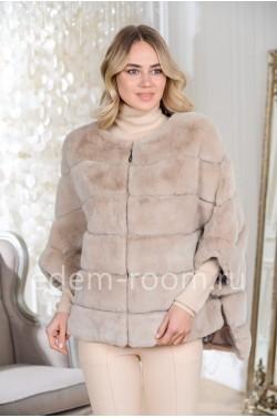 Пончо - куртка на молнии с капюшоном из кролика