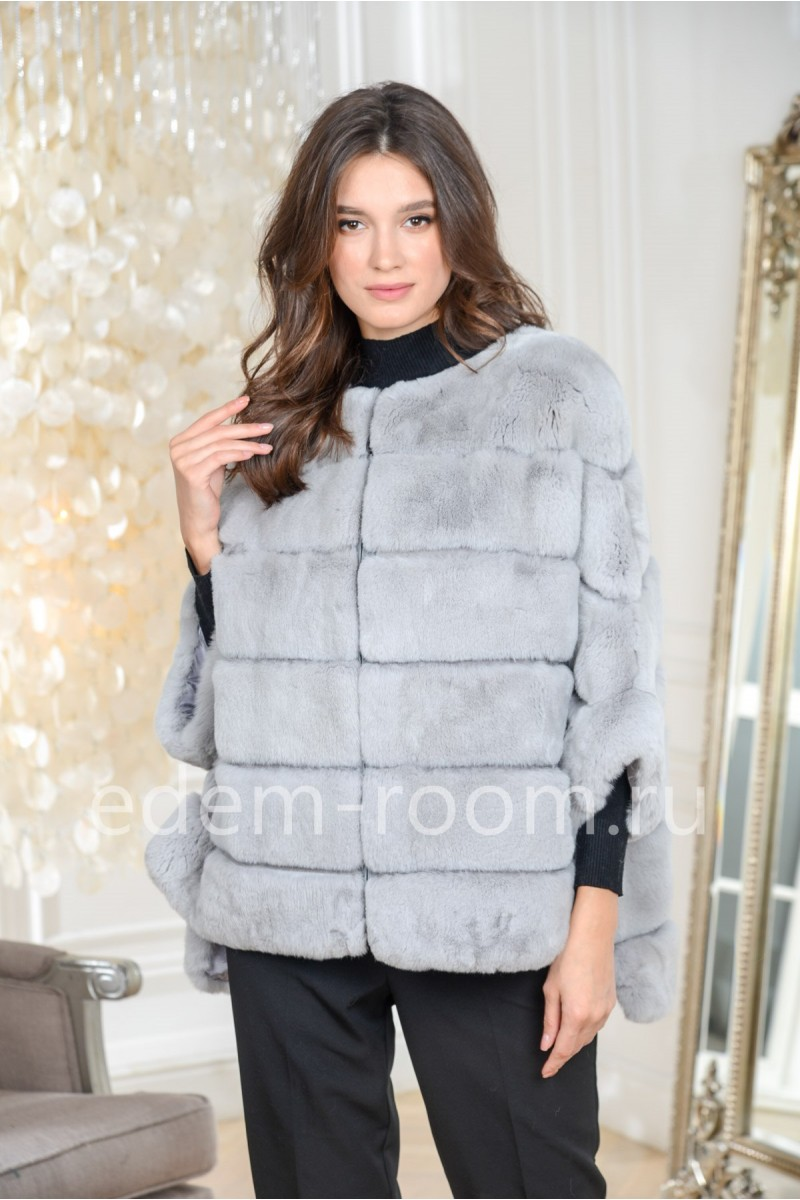 Пончо - куртка из кролика рекс меховая на молнии
