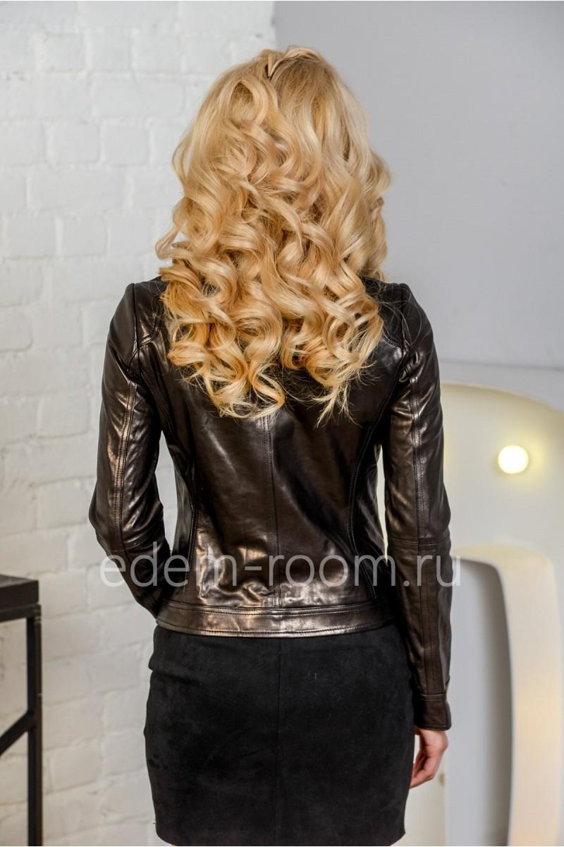 Классическая кожаная куртка для женщины из натуральной кожи