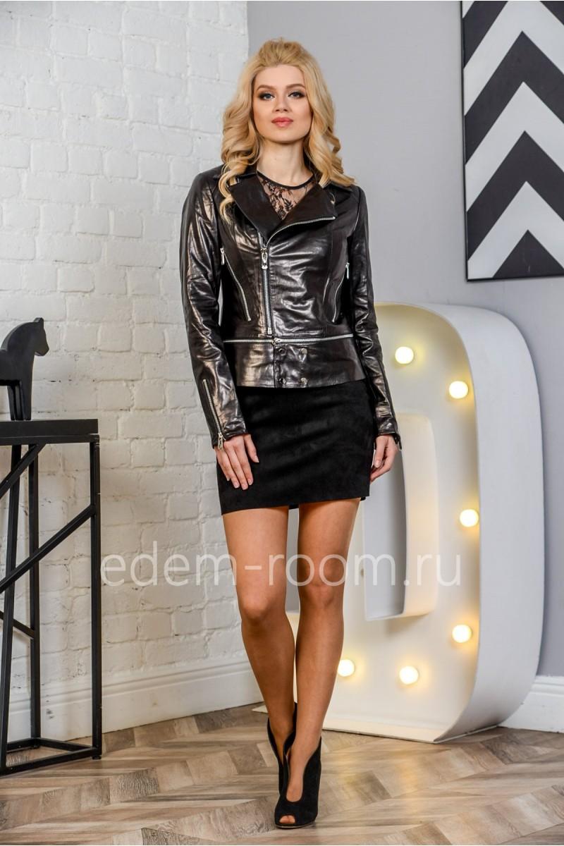 Женская кожаная куртка - косуха из натуральной кожи, молодежная