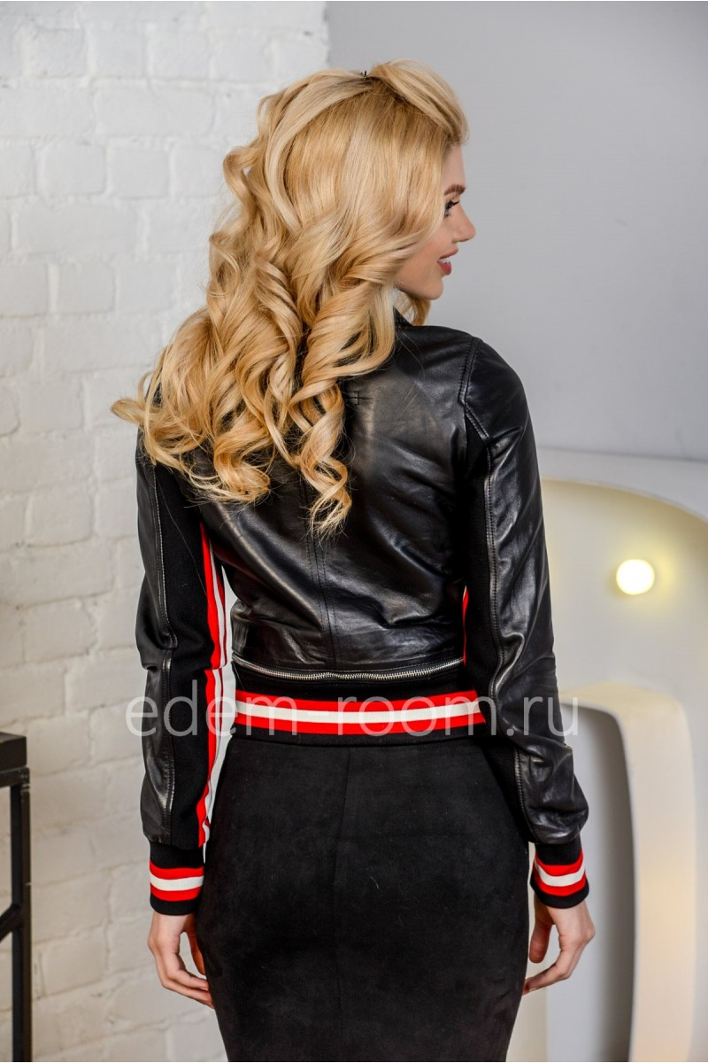 Женская кожаная куртка-бомбер из натуральной кожи