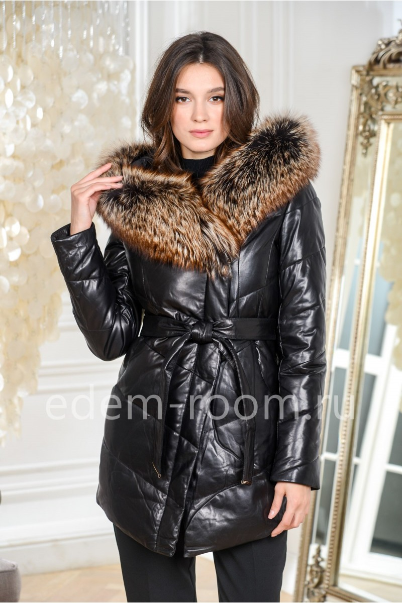 Женский пуховик - куртка из кожи