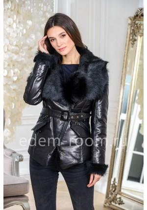 Кожаный пуховик - куртка