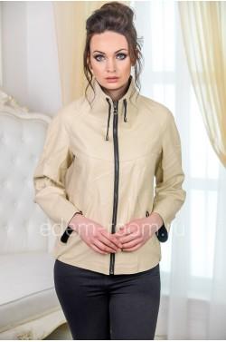 Бежевая куртка из искусственной кожи