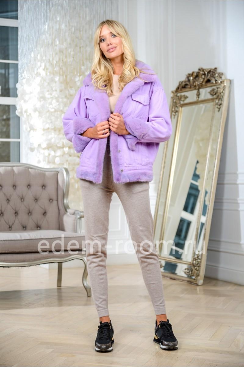 Куртка джинсовая с норкой фиолетовая