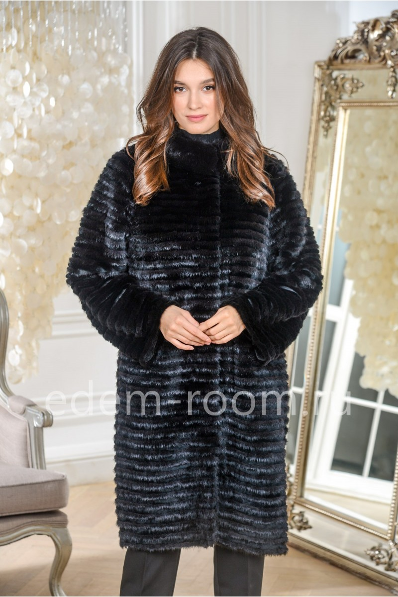 Комбинированное меховое пальто