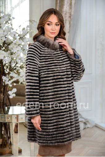 Демисезонное пальто из меха норки