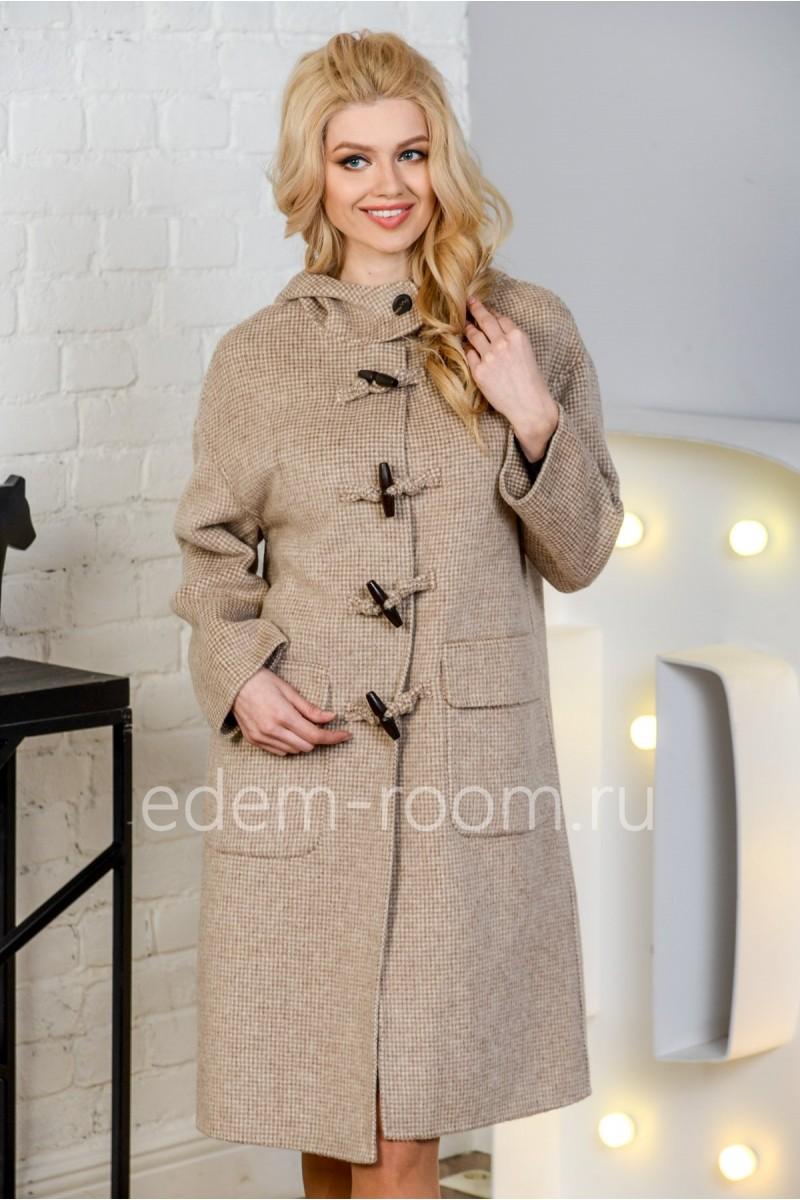 Пальто с капюшоном на пуговицах