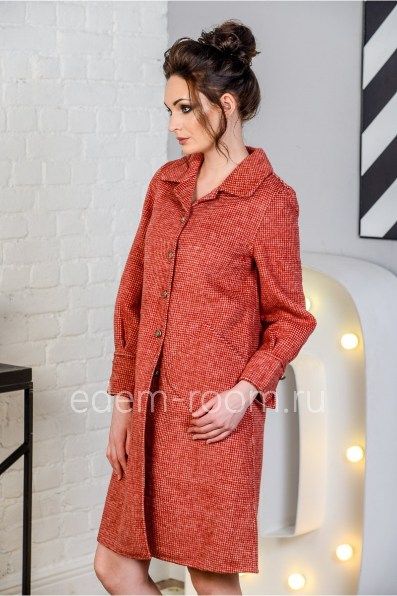Молодёжное пальто на пуговицах