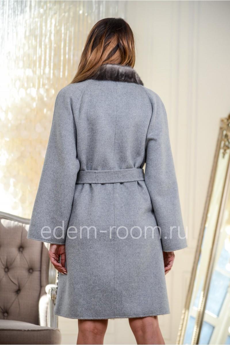 Комбинированное пальто с мехом