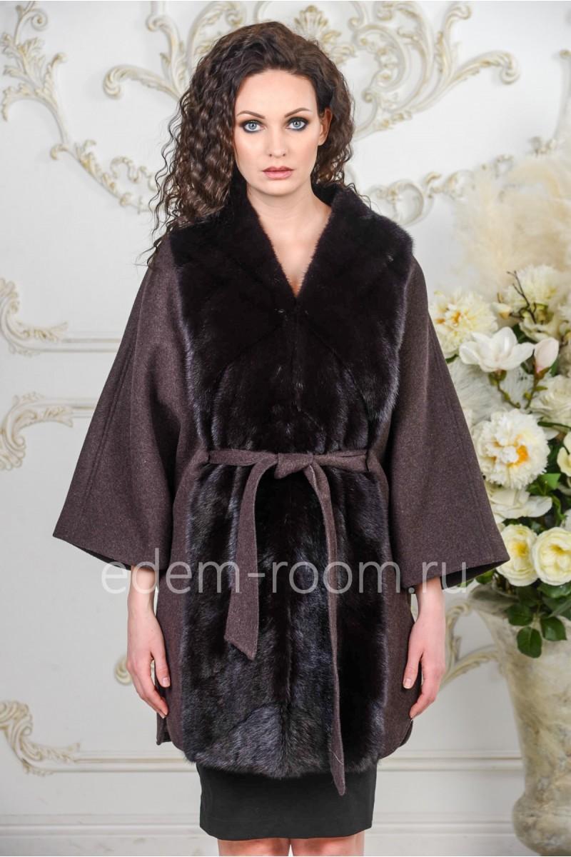 Пальто -пончо с мехом норки