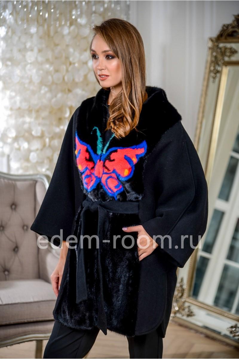 Пальто- пончо с мехом норки