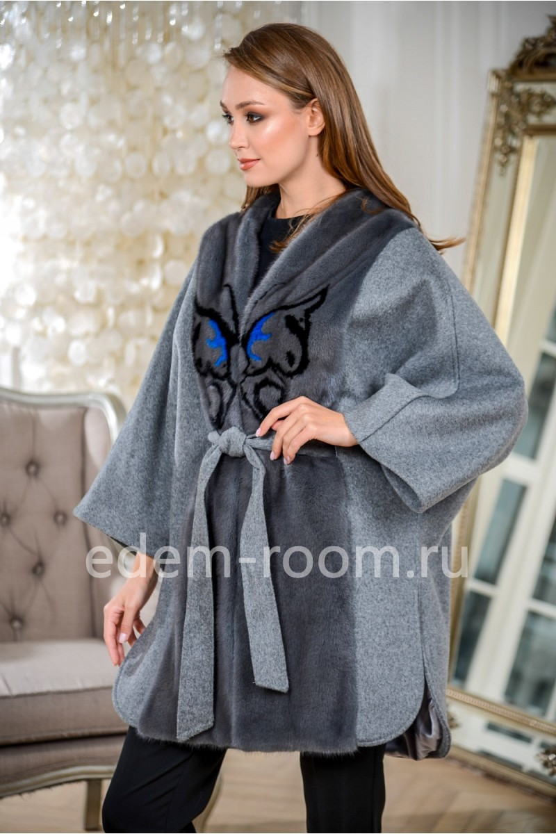 Шерстяное пальто - пончо