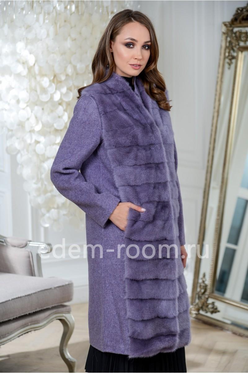 Пальто с жилетом из меха норки 3в1