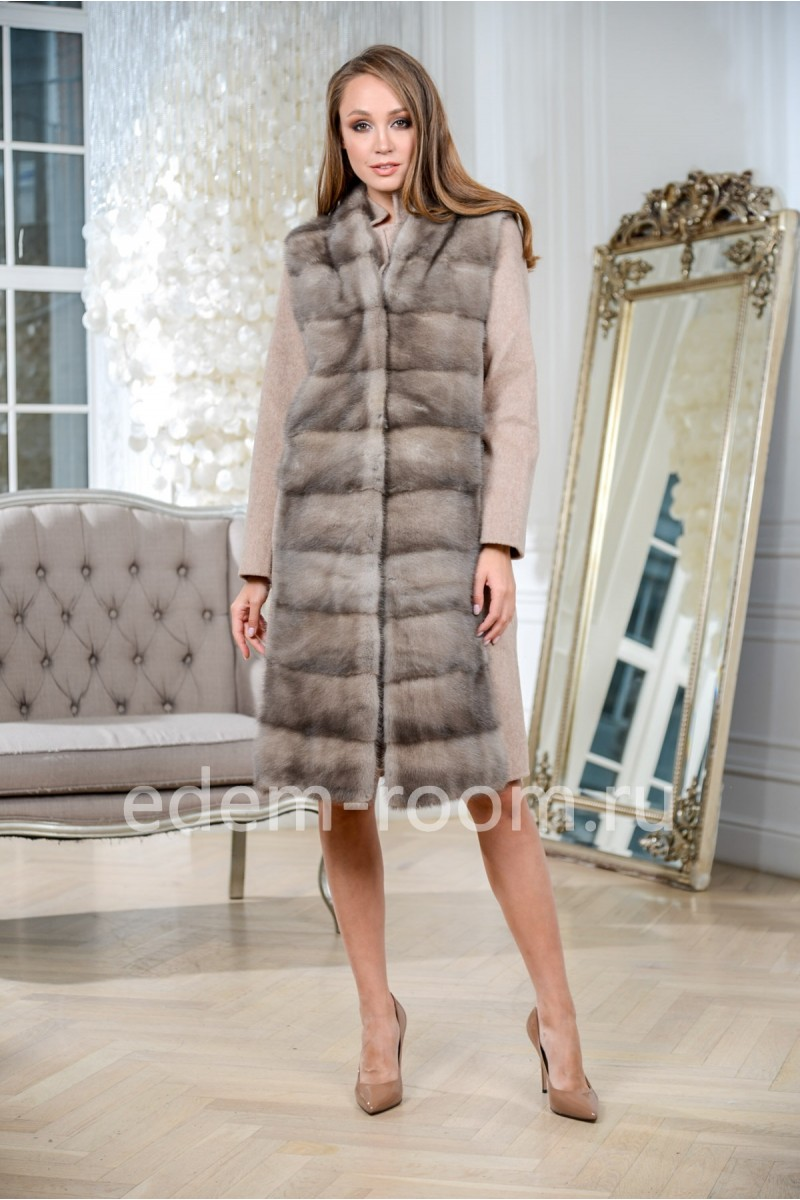 Пальто- жилет из Альпаки и меха норки 3 в1