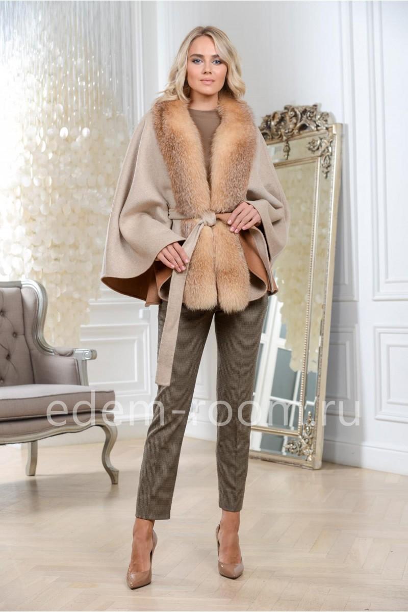 Пальто-пончо с мехом лисы