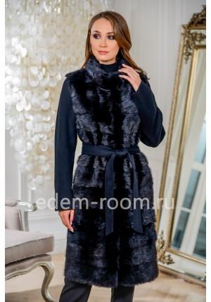 Чёрное пальто с мехом норки