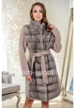 Современная пальто из шерсти и меха норки