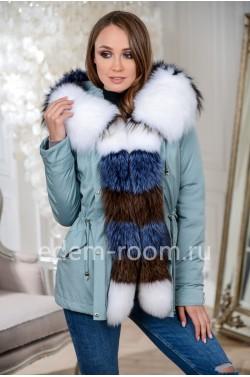 Зимняя куртка-парка с меховым капюшоном