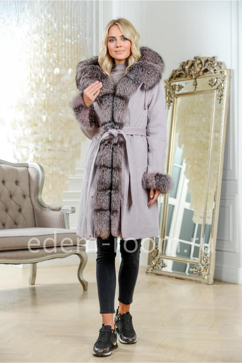 Зимнее пальто - парка с капюшоном из меха чернобурки