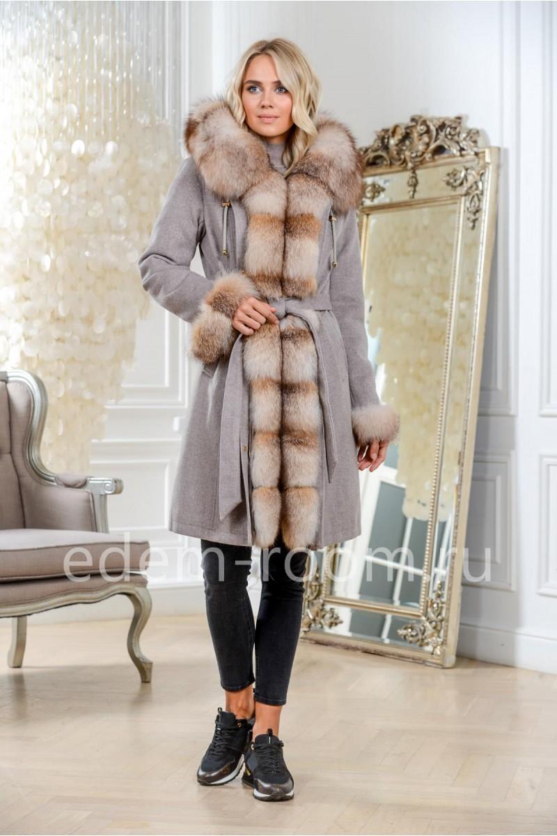 Теплая парка - пальто с натуральным мехом