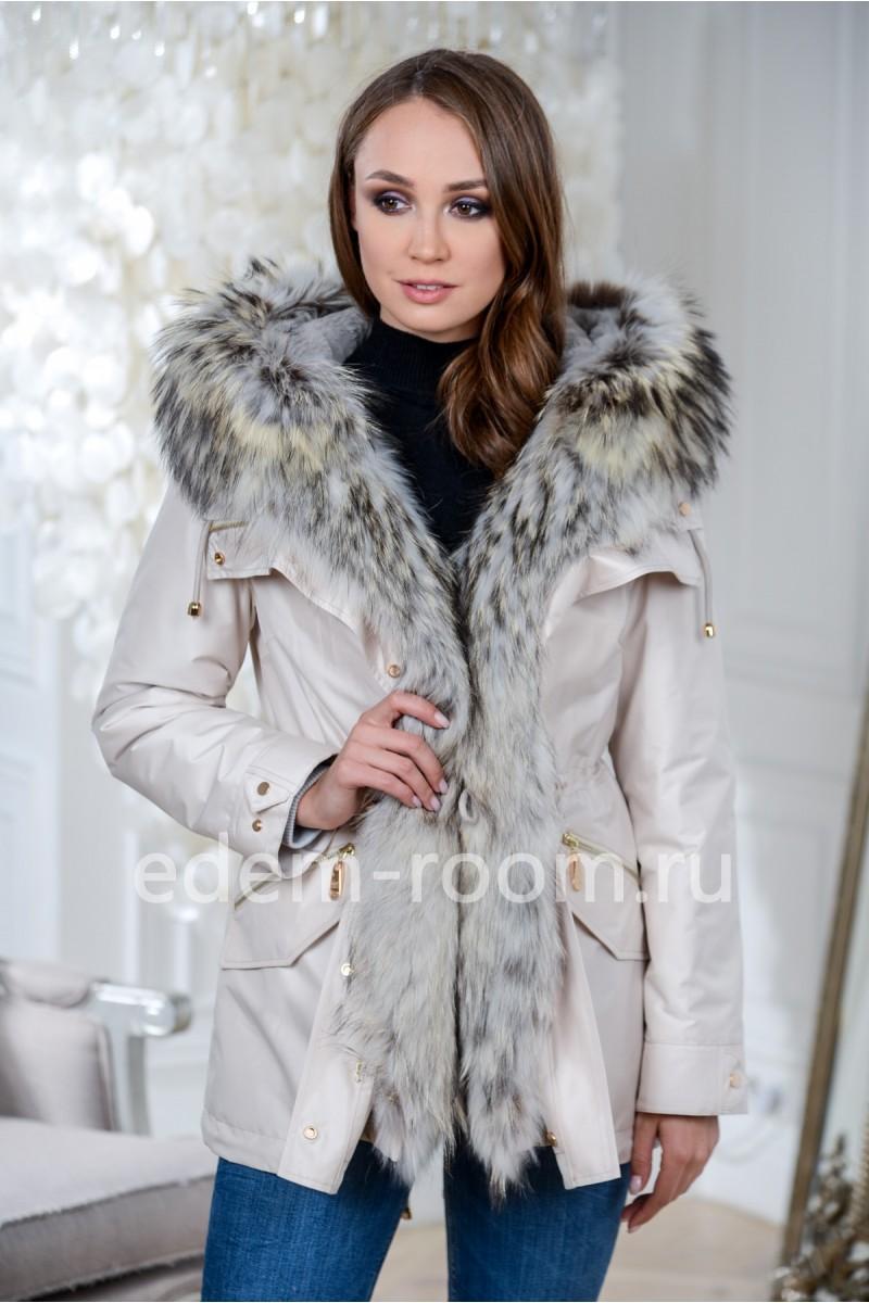 Зимняя парка - куртка с мехом енота