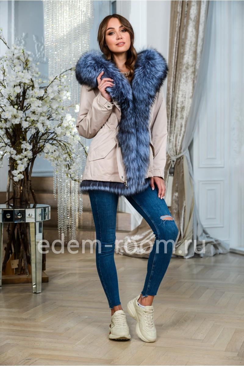 Куртка- парка с мехом чернобурой лисы