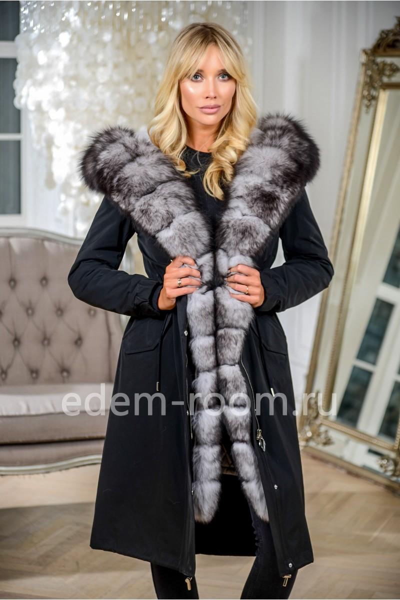 Парка-пальто из итальянской ткани с капюшоном из песца