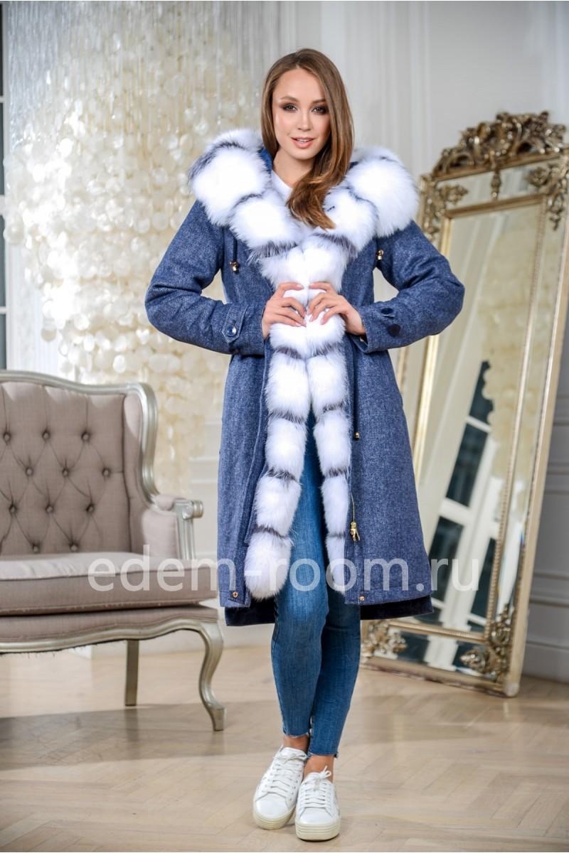 Зимняя парка - пальто на кашемире с мехом