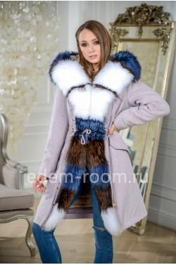 Парка - пальто с комбинированным мехом