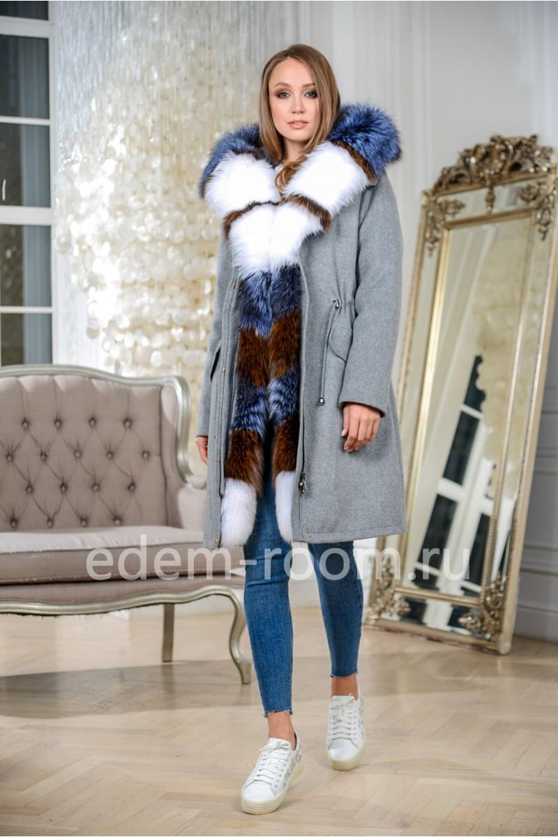 Пальто - парка на кашемире с мехом