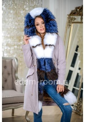 Парка - пальто с мехом лисы и песца