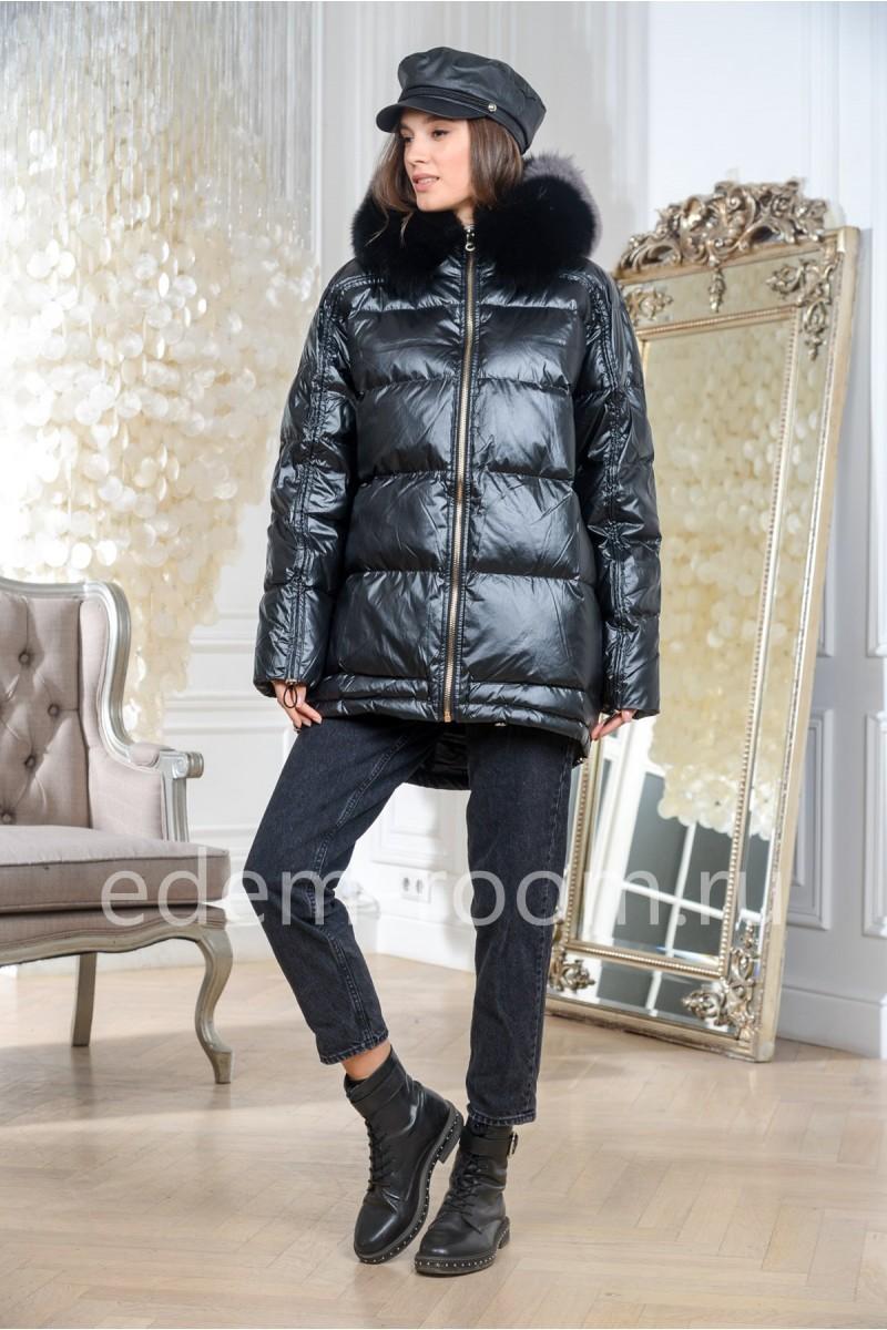 Куртка пуховая с меховым капюшоном