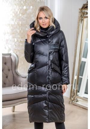 Чёрный пуховик - пальто с капюшоном