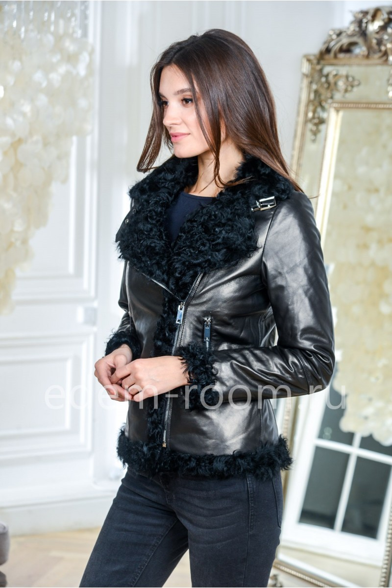 Куртка из кожи и меха барашка - Еврозима