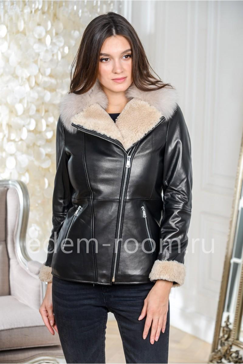 Зимняя кожаная куртка на утеплителе