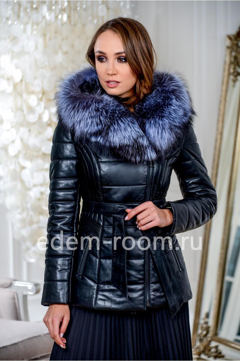 Зимняя кожаная куртка с мехом чернобурки с капюшоном