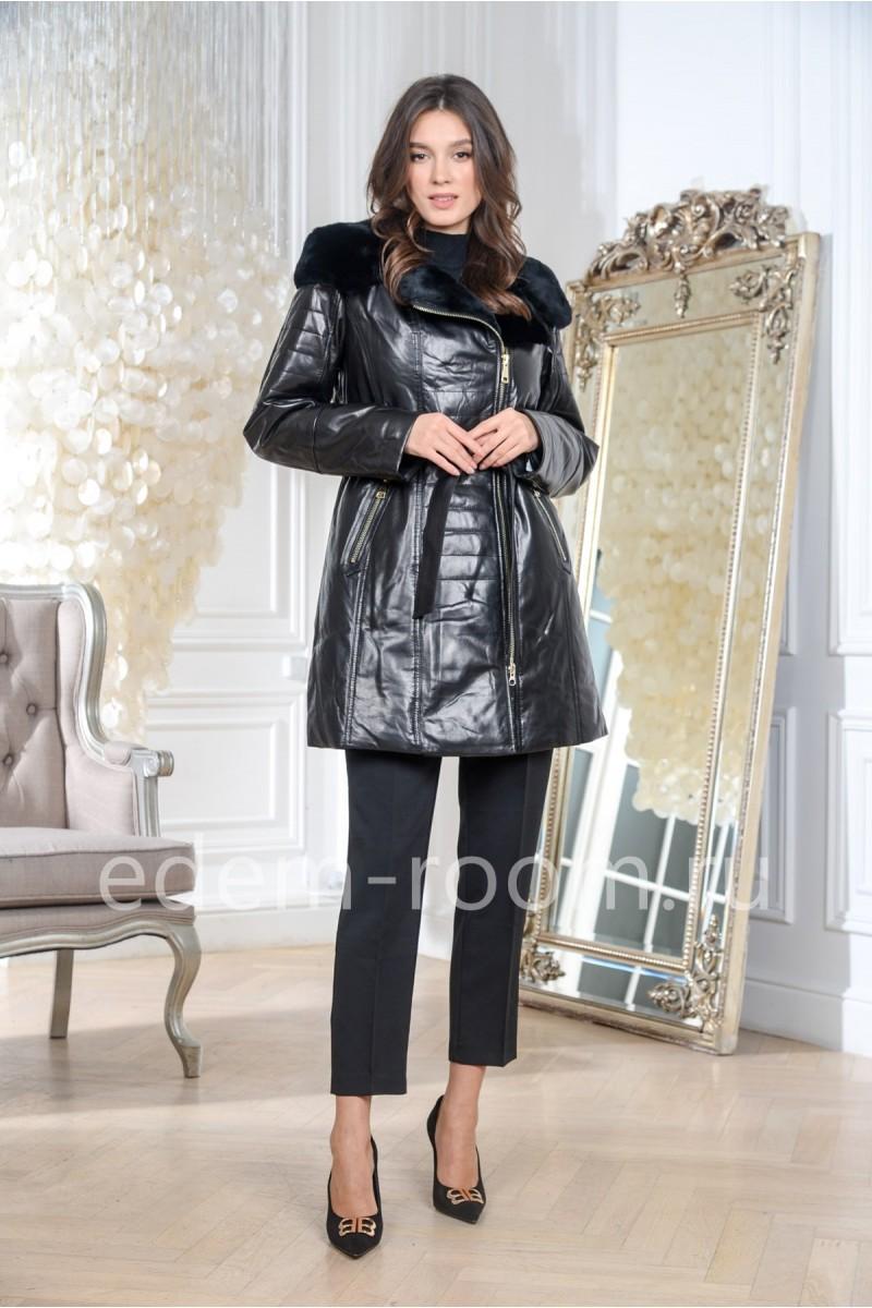 Облегчённое кожаное пальто на утеплителе
