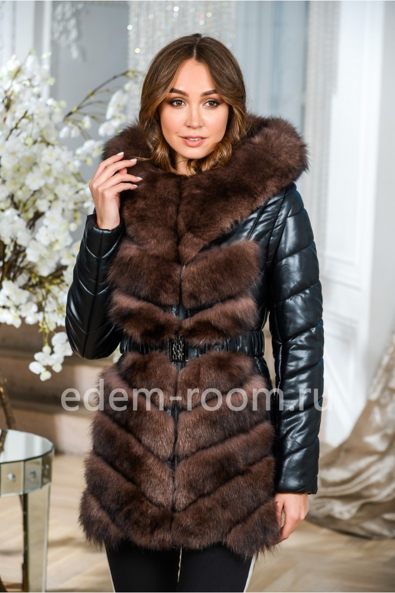 2в1 куртка- жилетка из экокожи и меха